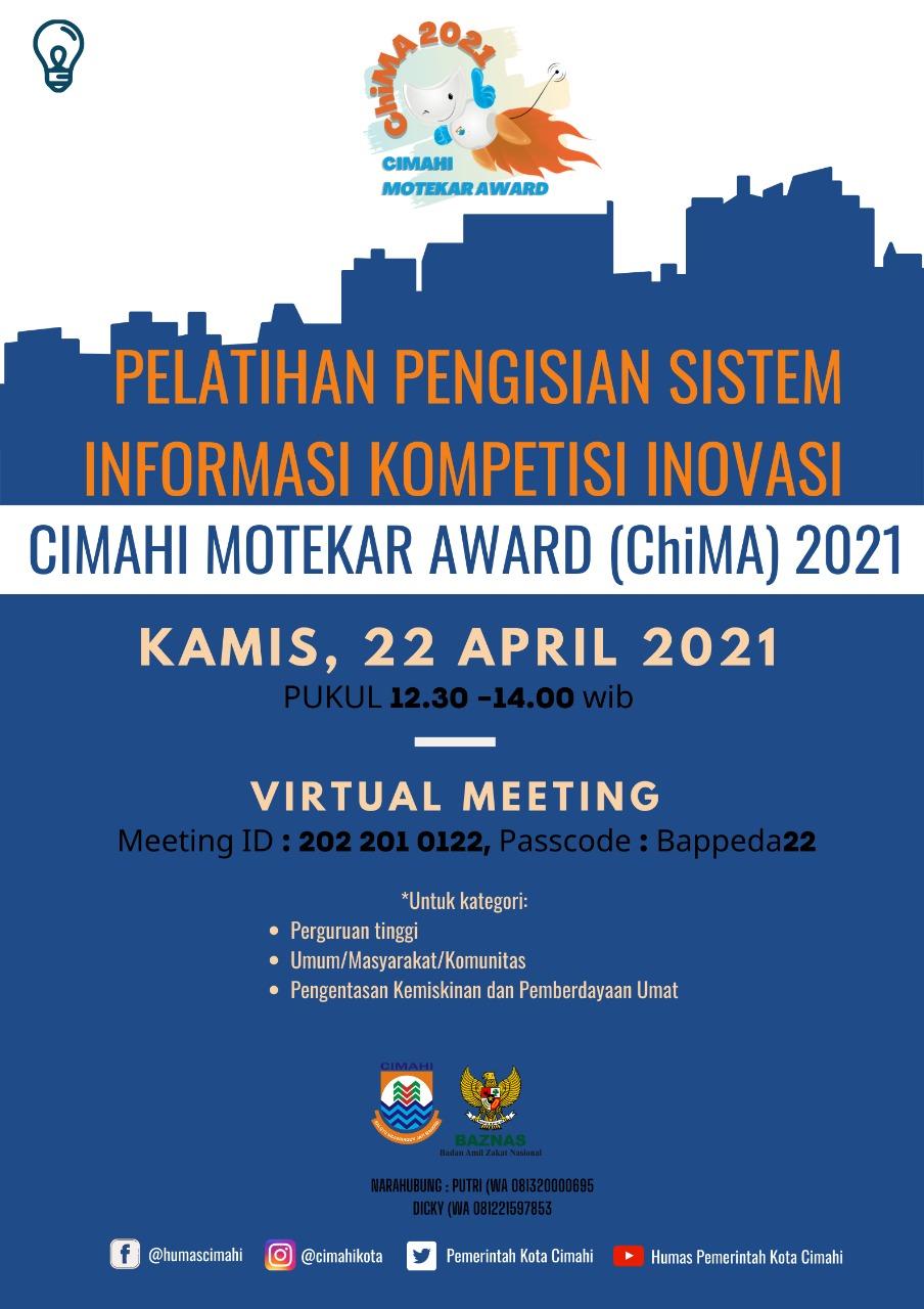 Pelatihan Pengisian Sistem informasi Kompetisi Inovasi Cimahi Motekar Award Tahun 2021 Kategori Umum