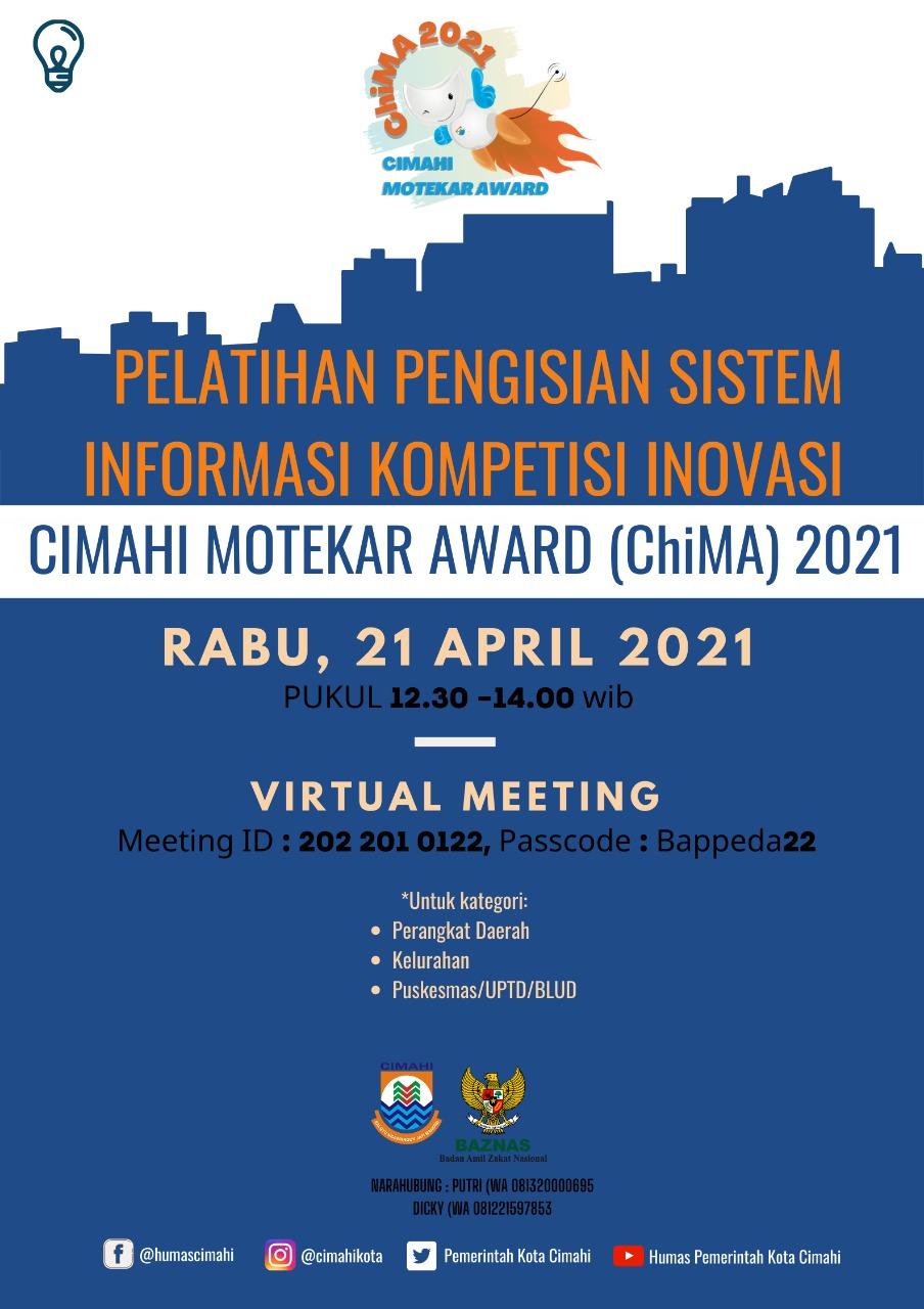 Pelatihan Pengisian Sistem informasi Kompetisi Inovasi Cimahi Motekar Award Tahun 2021 Kategori OPD