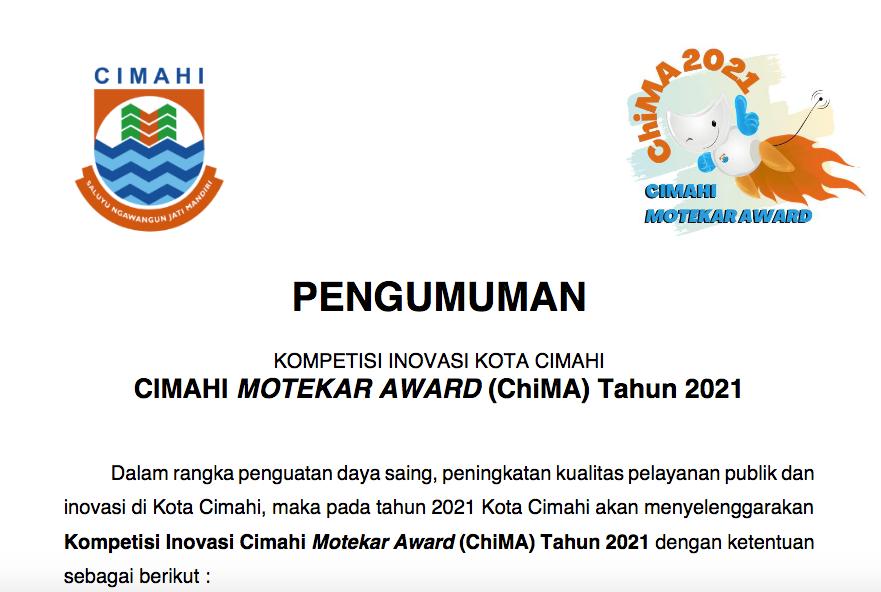 KOMPETISI INOVASI KOTA CIMAHI CIMAHI MOTEKAR AWARD (ChiMA) Tahun 2021