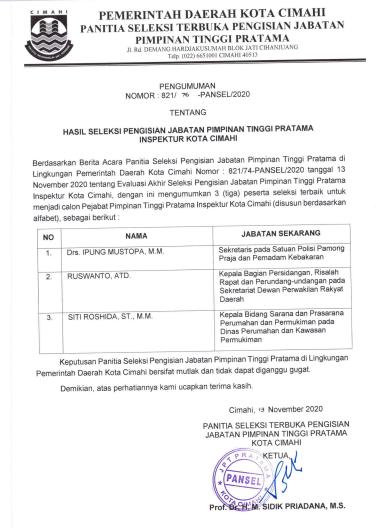 Hasil Seleksi Pengisian JPT Pratama di Lingkungan Pemerintah Daerah Kota Cimahi